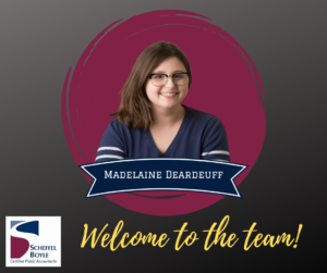 "Madelaine Deardeuff, with tagline ""Welcome to the Team"""
